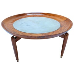 1960s Scapinelli Brazilian Caviuna Wood and Marble Round Coffee Table