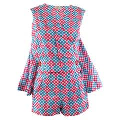 1960s Scarabocchio Harvey Nichols Pink & Blue Cotton Cape Sleeve Playsuit Romper