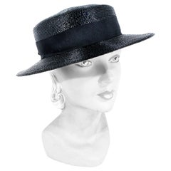 1960s Schiaparelli Black Coated Straw Hat