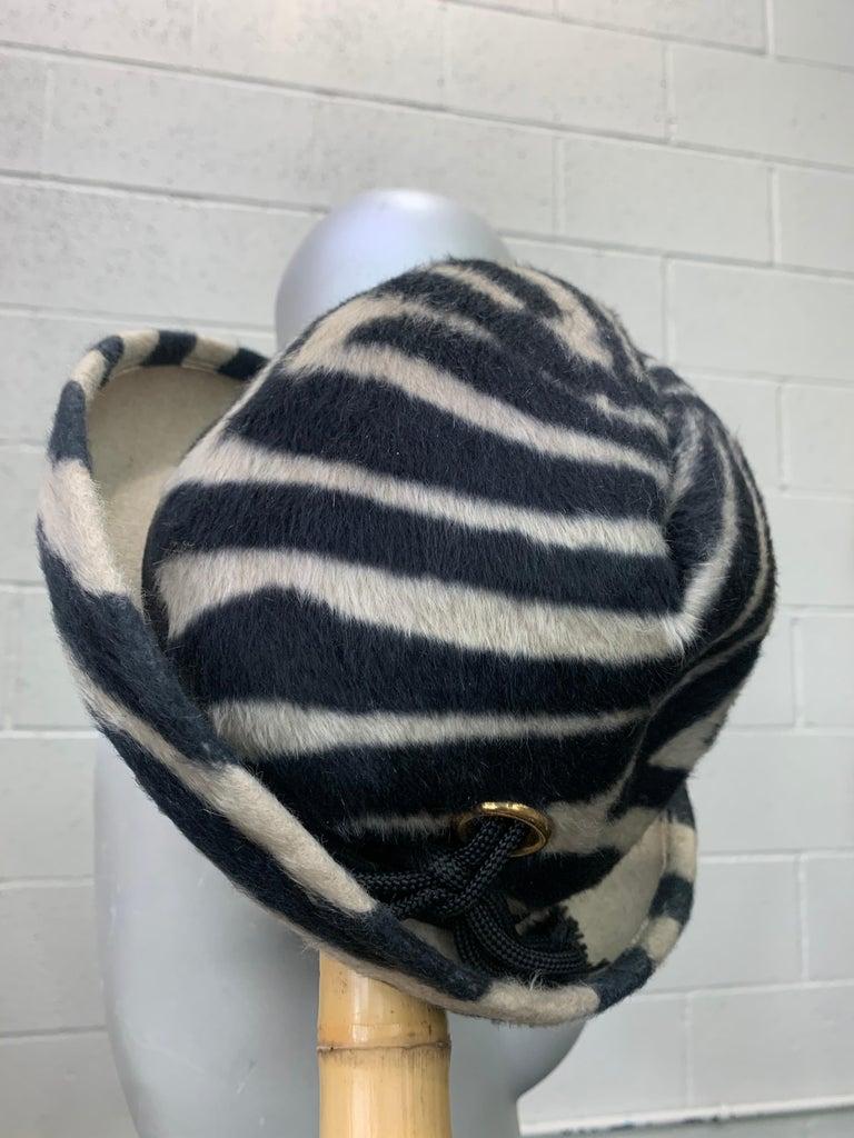1960s Schiaparelli Paris Mod Zebra Striped Fedora w/ Eyelet and Lacing Details.  For Sale 6