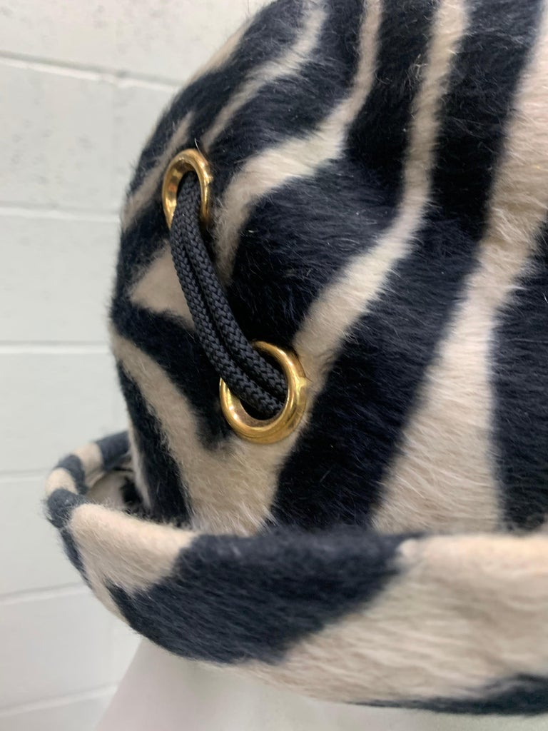 Black 1960s Schiaparelli Paris Mod Zebra Striped Fedora w/ Eyelet and Lacing Details.  For Sale