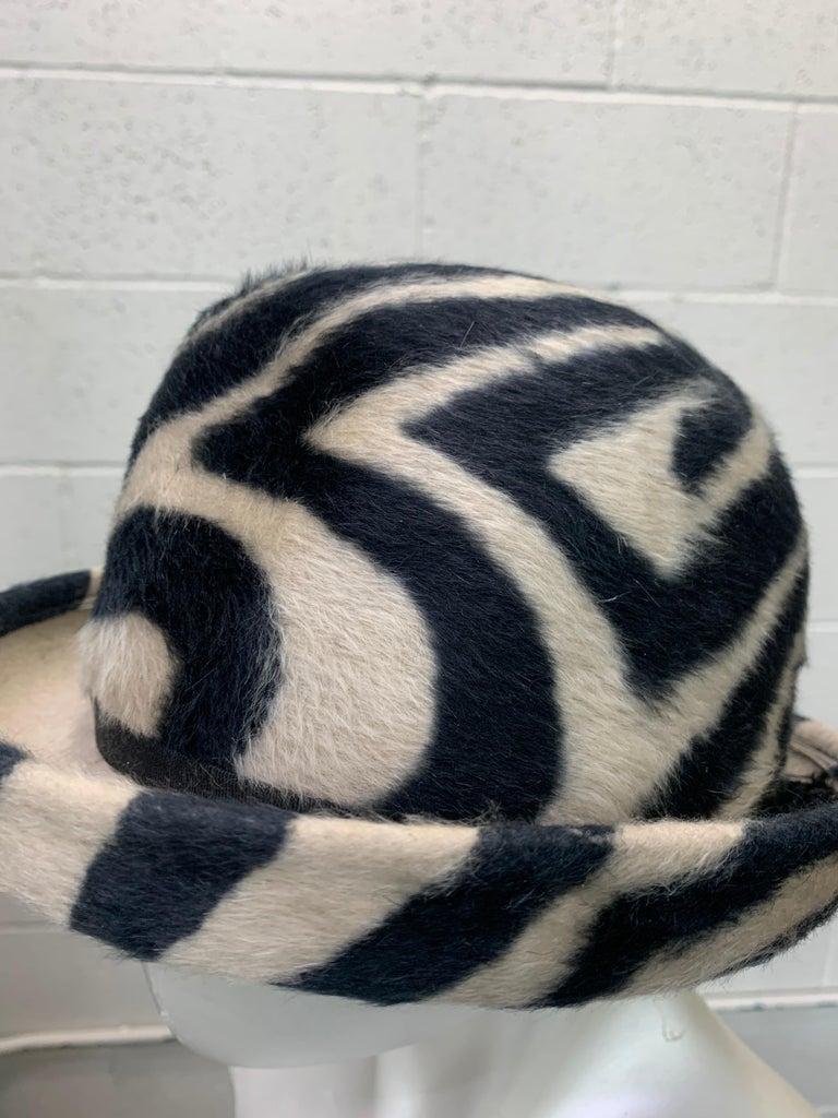 Women's or Men's 1960s Schiaparelli Paris Mod Zebra Striped Fedora w/ Eyelet and Lacing Details.  For Sale