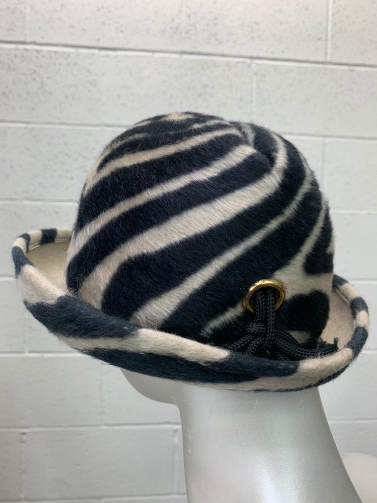 1960s Schiaparelli Paris Mod Zebra Striped Fedora w/ Eyelet and Lacing Details.  For Sale 1