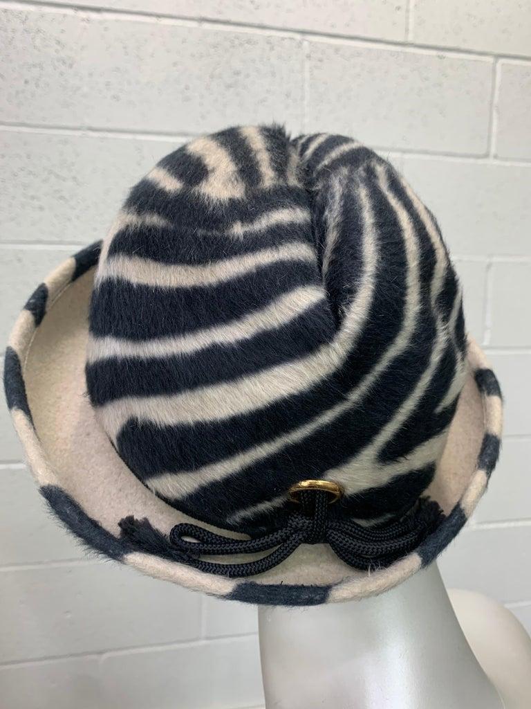 1960s Schiaparelli Paris Mod Zebra Striped Fedora w/ Eyelet and Lacing Details.  For Sale 2
