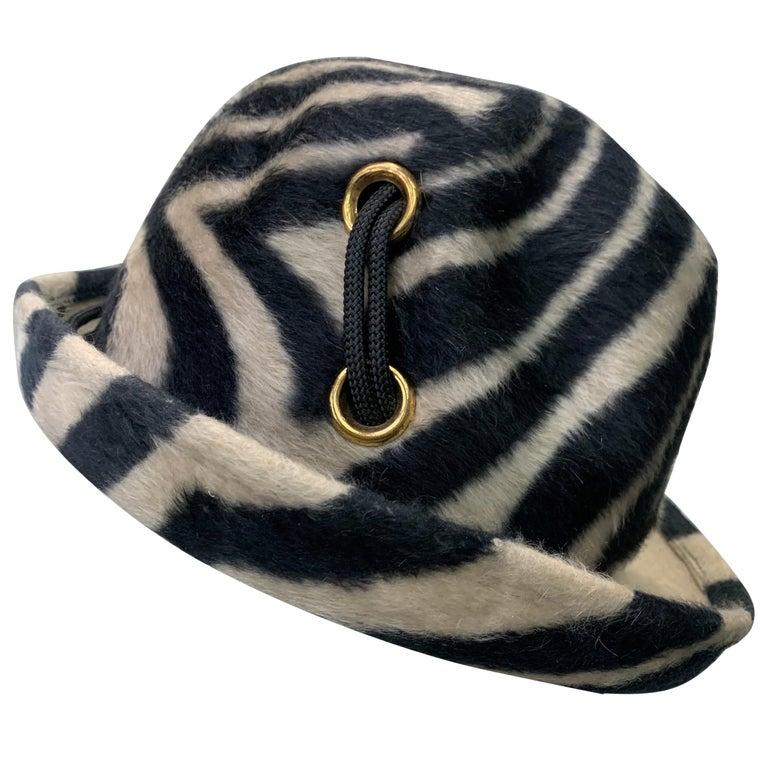 1960s Schiaparelli Paris Mod Zebra Striped Fedora w/ Eyelet and Lacing Details.  For Sale