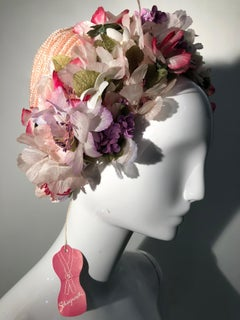 1960s Schiaparelli Straw Spring Hat With Wreath Of Silk Flowers Around Edge