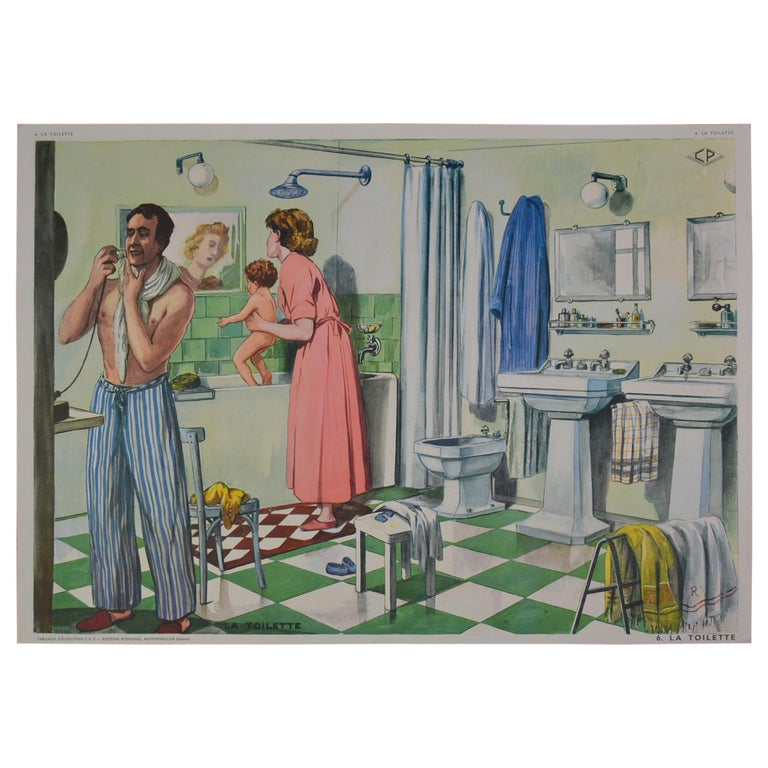 1960s School Poster, Art Deco Bathroom By Rossignol For