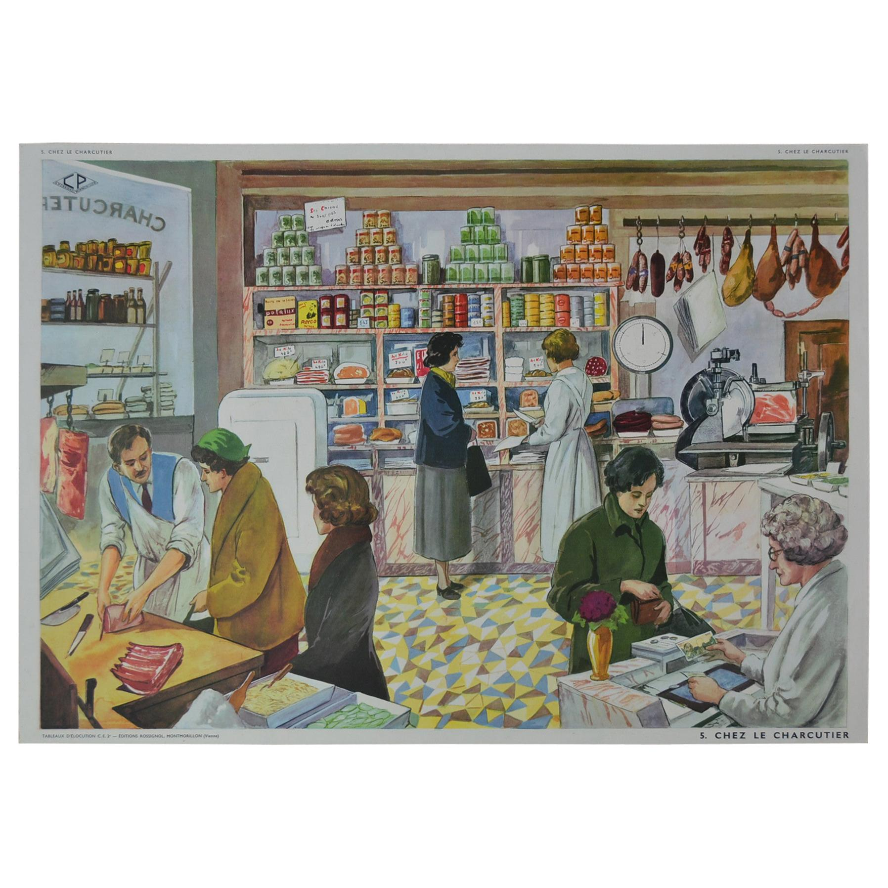 1960s School Poster, At the Butcher's Shop by Rossignol