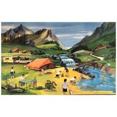 1960s School Poster by Oge-Hachette, Winter Wonderland and Camping