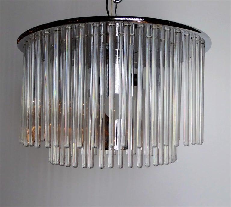 Mid-Century Modern 1960s Sciolari Lightolier Italian Glass Rod Flushmount 2-Tier Light For Sale