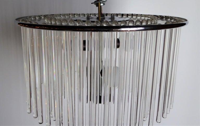 1960s Sciolari Lightolier Italian Glass Rod Flushmount 2-Tier Light In Good Condition For Sale In Miami, FL