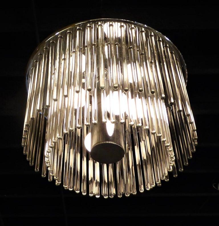 Blown Glass 1960s Sciolari Lightolier Italian Glass Rod Flushmount 2-Tier Light For Sale