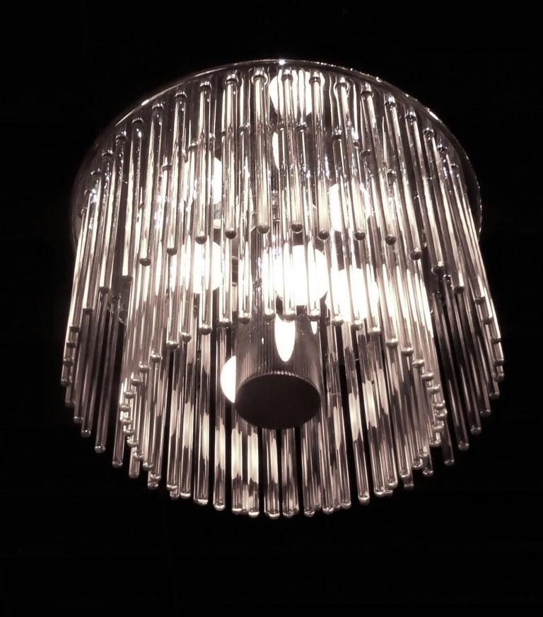 1960s Sciolari Lightolier Italian Glass Rod Flushmount 2-Tier Light For Sale 1