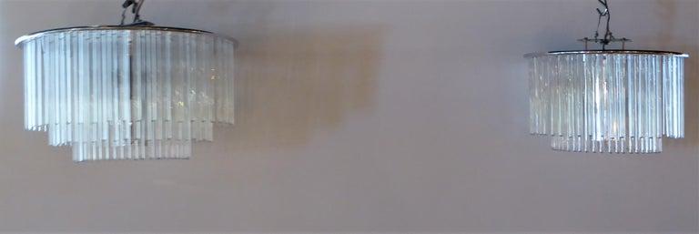 1960s Sciolari Lightolier Italian Glass Rod Flushmount 2-Tier Light For Sale 2