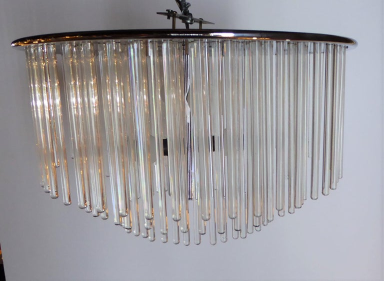 1960s Sciolari Lightolier Italian Glass Rod Flushmount 3-Tier Light In Good Condition For Sale In Miami, FL
