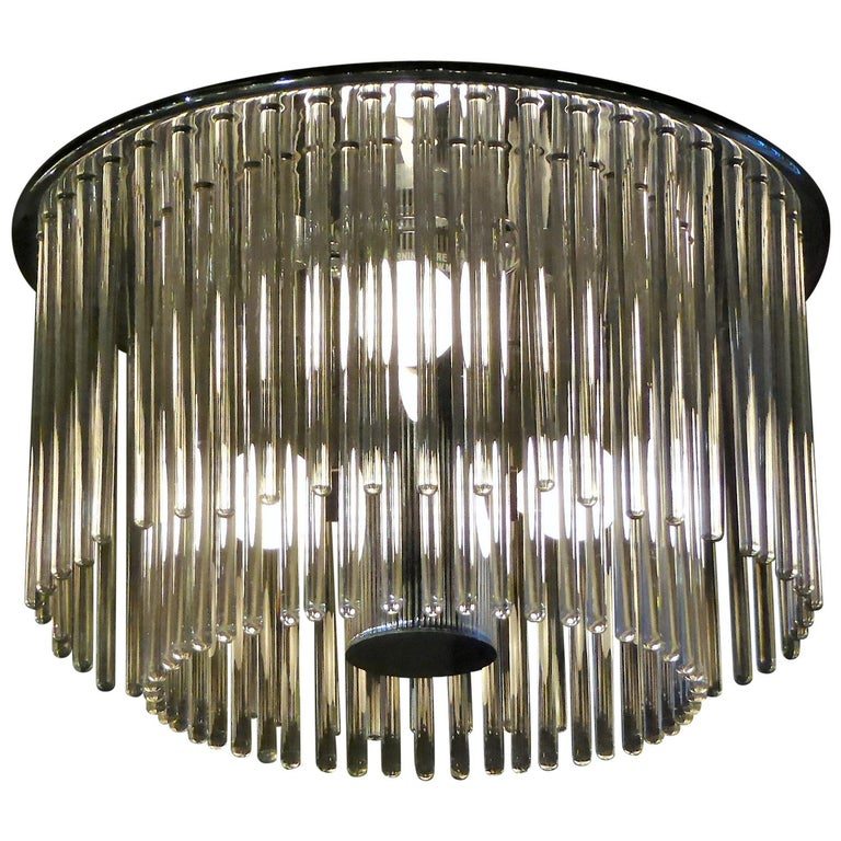 1960s Sciolari Lightolier Italian Glass Rod Flushmount 2-Tier Light For Sale