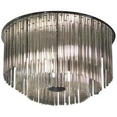 1960s Sciolari Lightolier Italian Glass Rod Flushmount 3-Tier Light