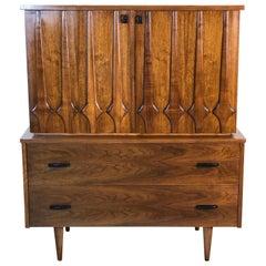 1960s Sculpted Walnut Highboy Dresser