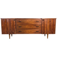 1960s Sculpted Walnut Long Nine Drawer Dresser