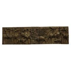 1960s Sculptural Bronze Effect Wall Art Resin Wall Hanging
