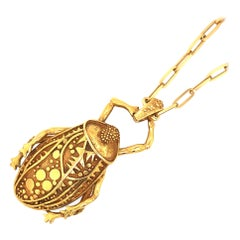 1960s Sculptural Gold Beetle Pendant by Maureen Wicke
