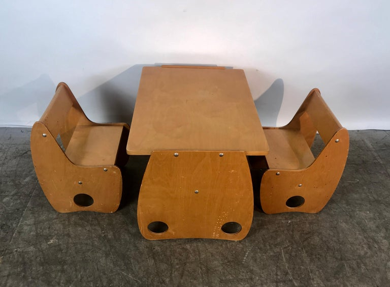 1960s sculptural beech veneer plywood children's table and chair set by Hans Mitzlaff and Albrecht, made in Russia, amazing design reminiscent of sculptures of Henry Moore and Noguchi, table measures 24 x 18 x 17 H, chairs measure 17