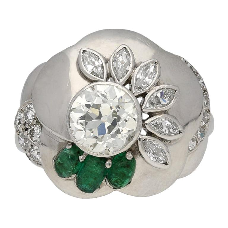 1960s Seaman Schepps Diamond Emerald Flower Ring
