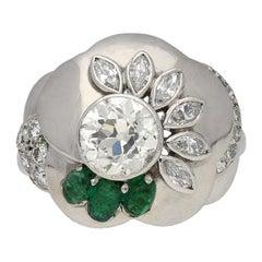 1960s Seaman Schepps Diamond Emerald Flower Ring