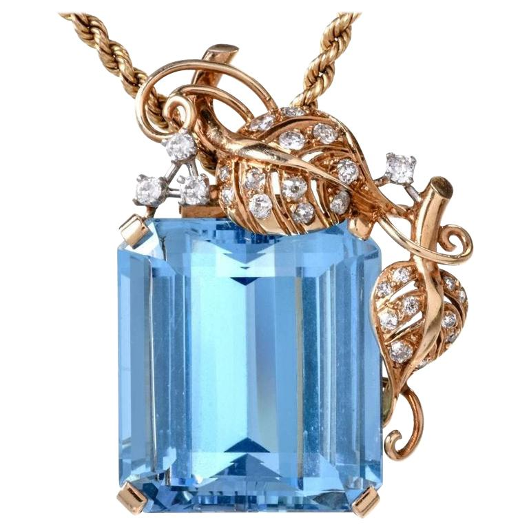1960s Seaman Schepps GIA Aquamarine Diamond 18 Karat Gold Brooch Pin