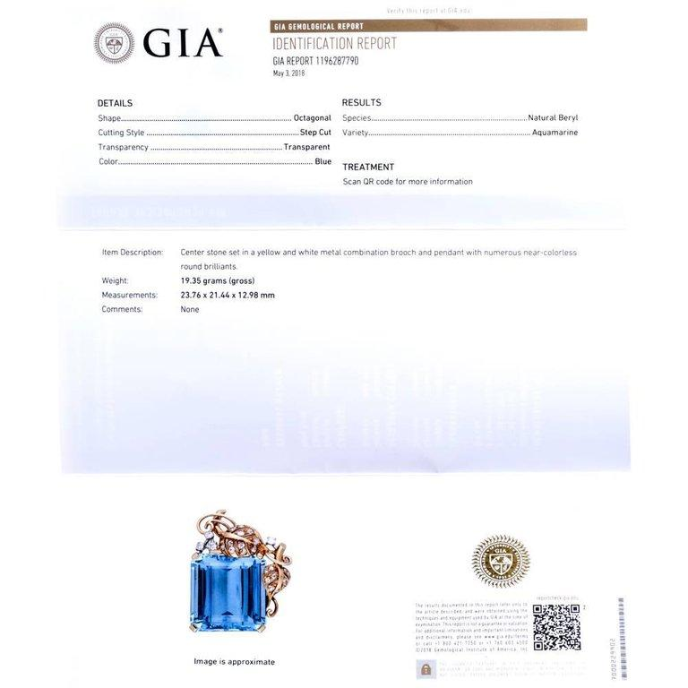 1960s Seaman Schepps GIA Aquamarine Diamond 18 Karat Gold Brooch Pin In Excellent Condition For Sale In Miami, FL