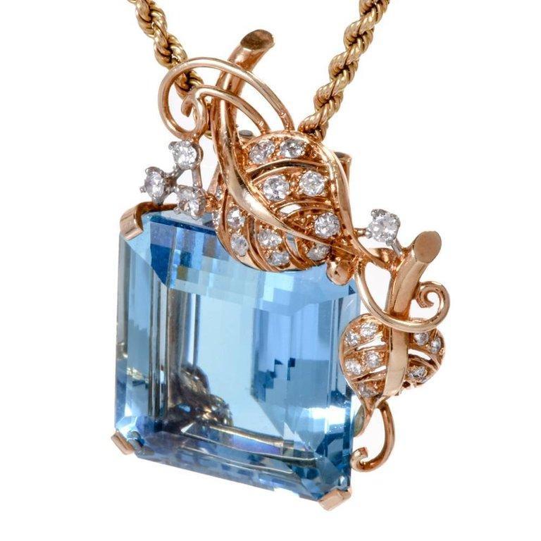 Women's 1960s Seaman Schepps GIA Aquamarine Diamond 18 Karat Gold Brooch Pin For Sale