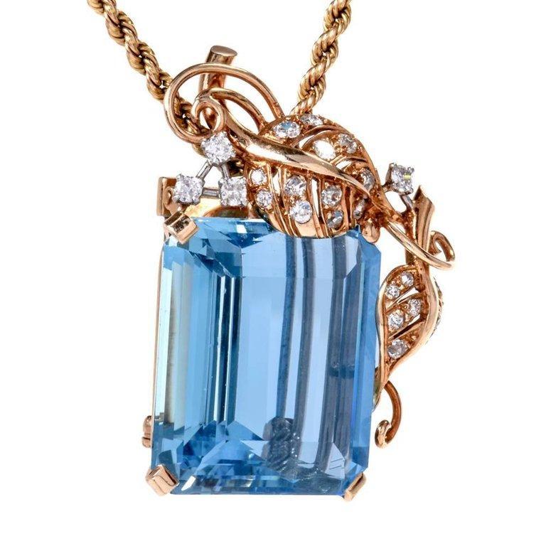 1960s Seaman Schepps GIA Aquamarine Diamond 18 Karat Gold Brooch Pin For Sale 1