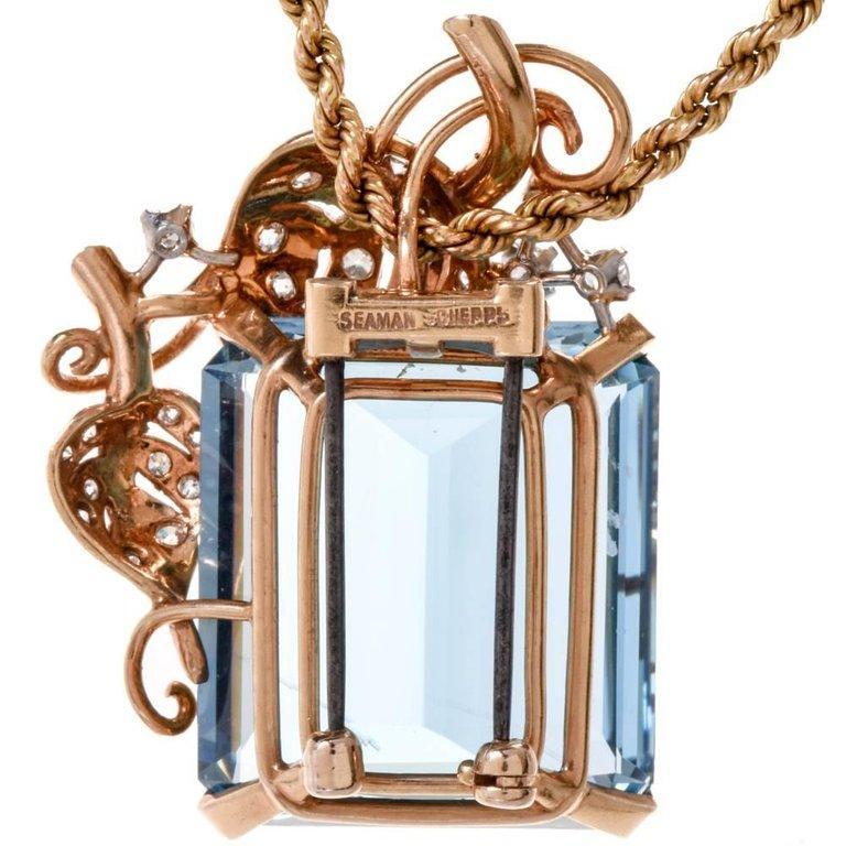 1960s Seaman Schepps GIA Aquamarine Diamond 18 Karat Gold Brooch Pin For Sale 2
