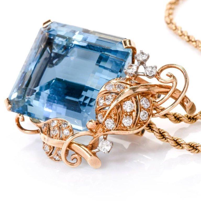 1960s Seaman Schepps GIA Aquamarine Diamond 18 Karat Gold Brooch Pin For Sale 3