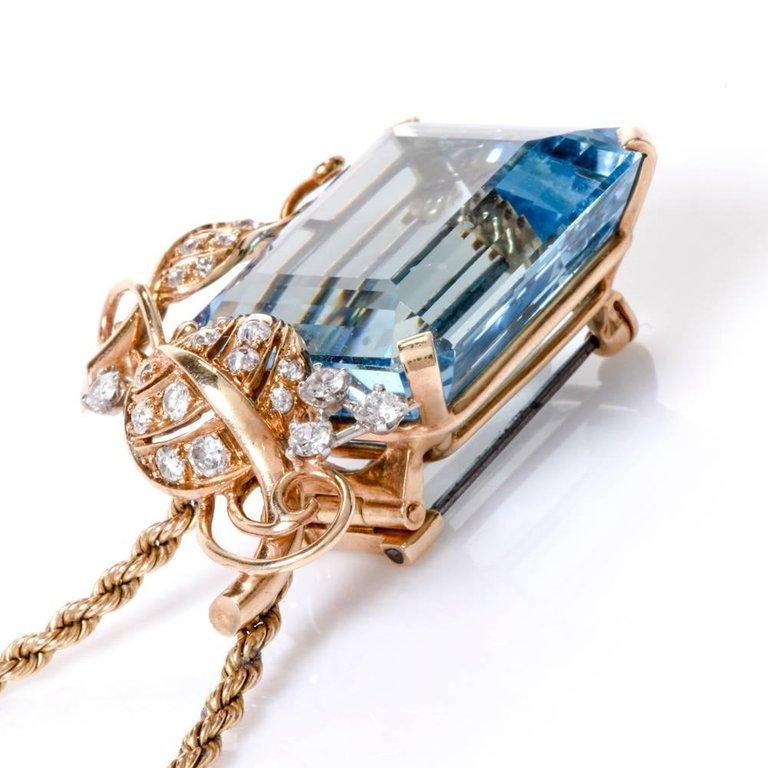 1960s Seaman Schepps GIA Aquamarine Diamond 18 Karat Gold Brooch Pin For Sale 4