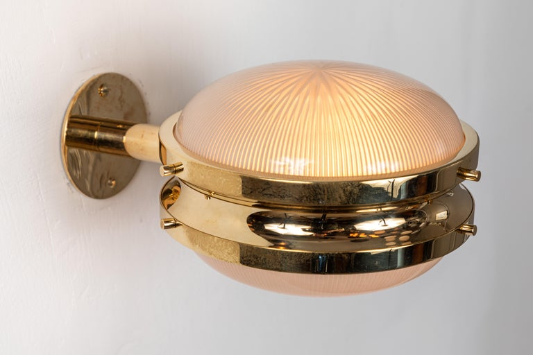 Italian 1960s Sergio Mazza Brass 'Gamma' Wall or Ceiling Lights for Artemide For Sale