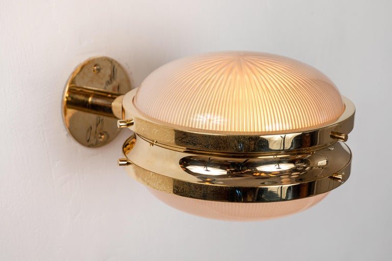 Pressed 1960s Sergio Mazza Brass 'Gamma' Wall or Ceiling Lights for Artemide For Sale