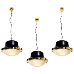 1960s Sergio Mazza 'Tau' Brass Pendants for Artemide