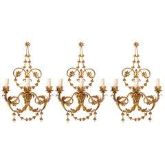 1960s Set of 3 Large Neoclassical Maison FlorArt Sconces