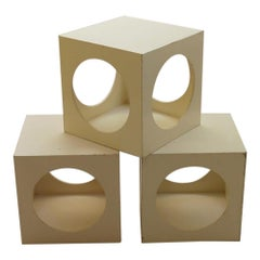 1960s Set of 3 White Cube Box Tables Nightstand Storage Boxes