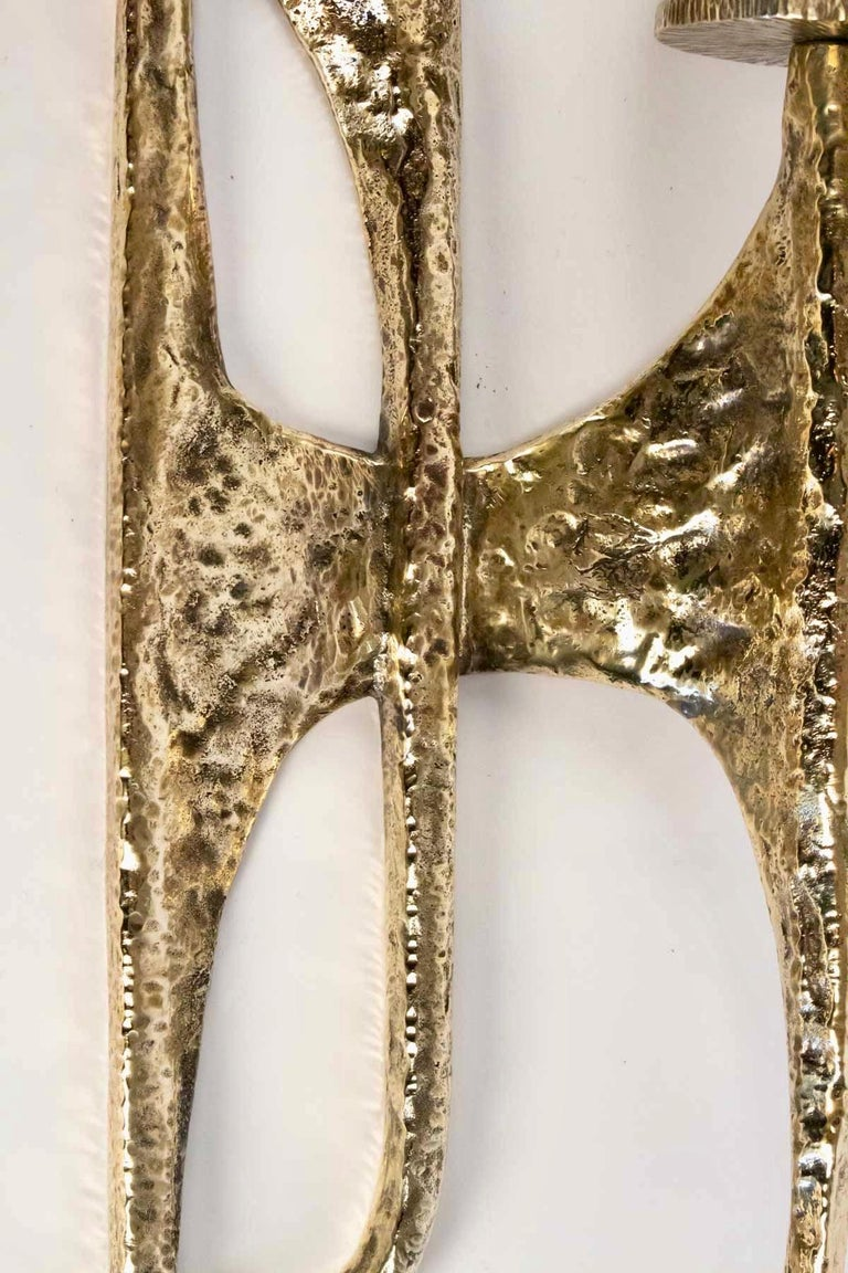 French 1960s Set of 4 Gilded Bronze Sconces Attributed to Felix Agostini For Sale