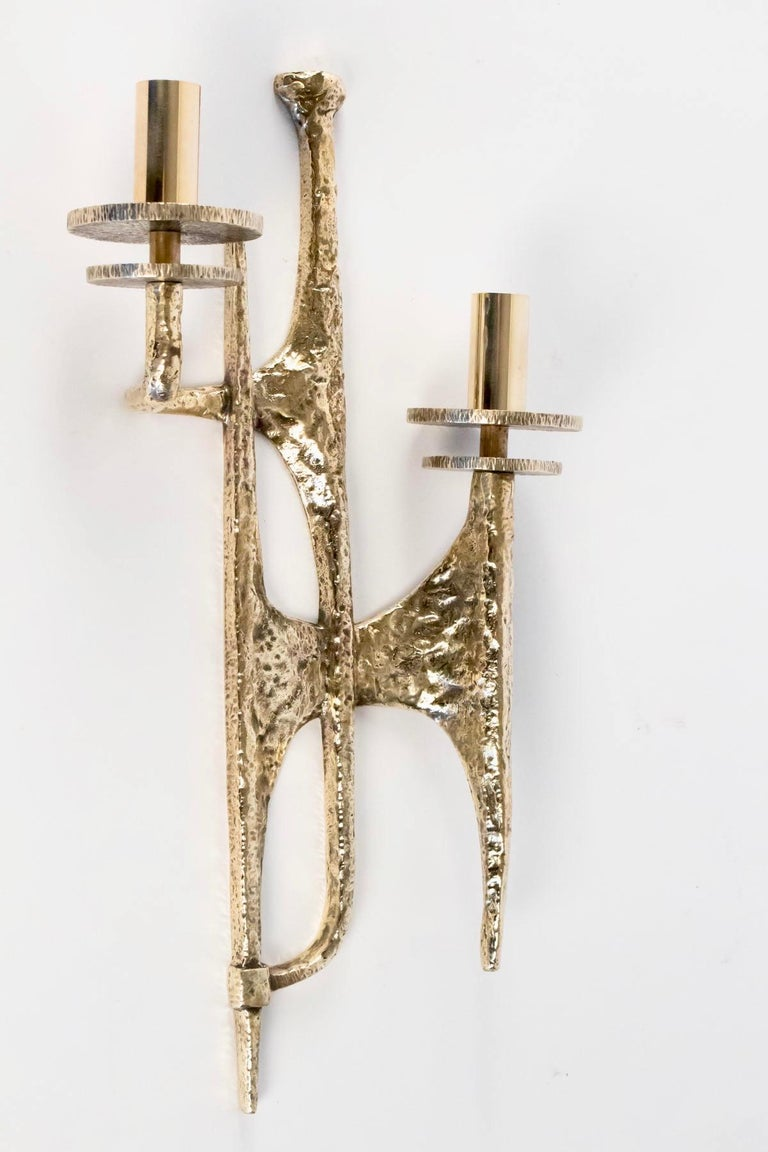 1960s Set of 4 Gilded Bronze Sconces Attributed to Felix Agostini In Good Condition For Sale In Saint-Ouen, FR