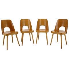 1960s Set of 4 Oswald Haerdtl Beech Dining Chairs for Ton/Thonet, Czechoslovakia