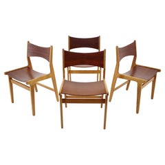 1960s Set of 4 Teak and Beech Dining Chairs, Denmark