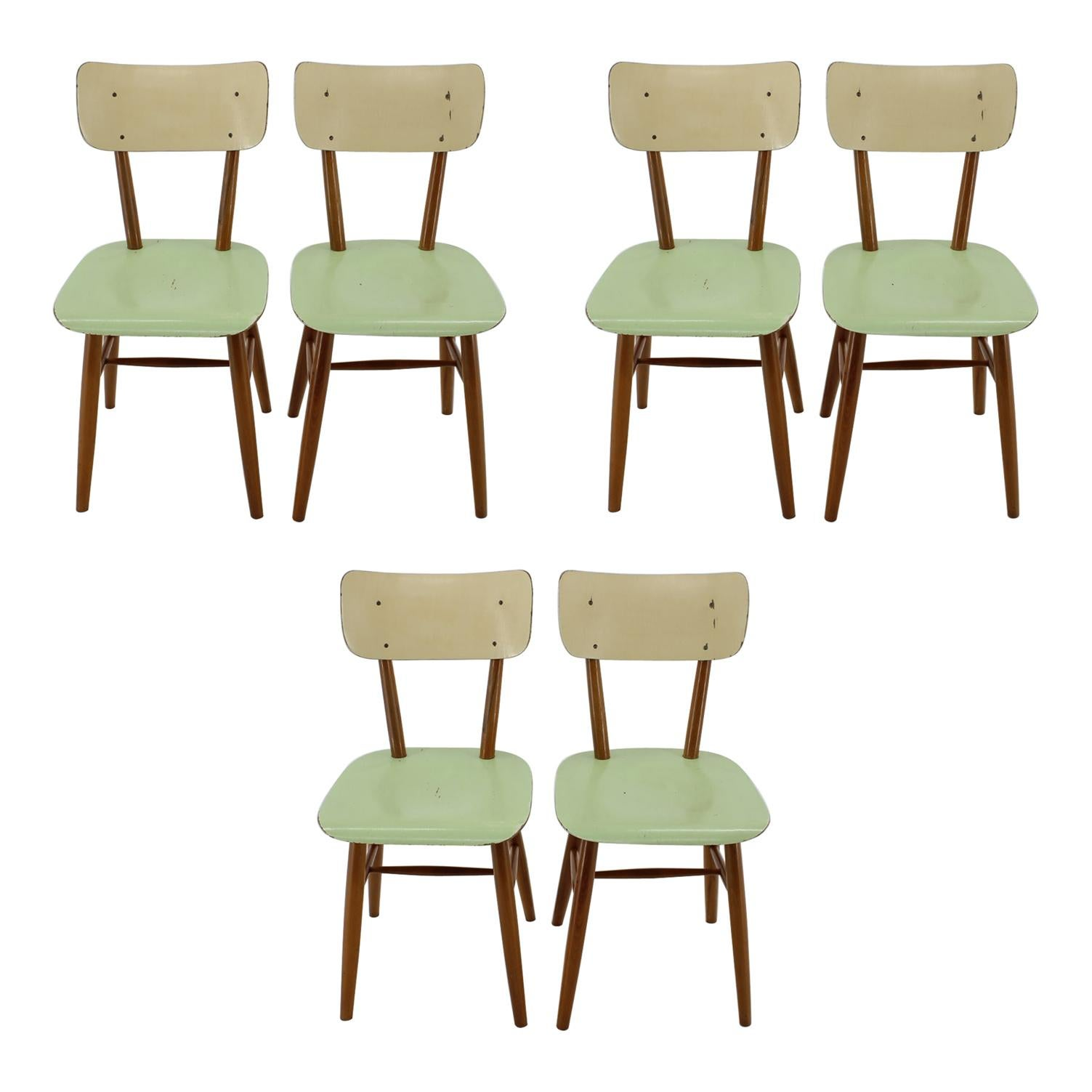 1960s Set of 6 Dining Chairs,Czechoslovakia