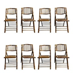 1960s, Set of 8 Bamboo Folding Chairs