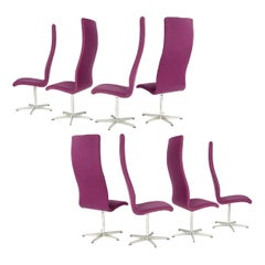 "1960s Set of 8 Danish High Back ""Oxford"" Chair by Arne Jacobsen for Fritz Hansen"
