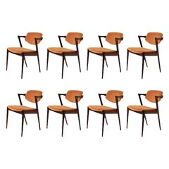 1960s Set of 8 Kai Kristiansen Dining Chairs in Rosewood, Inc. Reupholstery