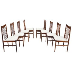 1960s Set of Eight Arne Vodder Palisander Dining Chairs, Denmark