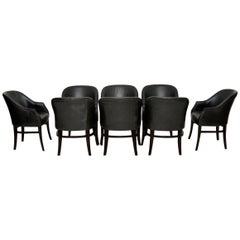 1960s Set of Eight Vintage Leather Dining Chairs
